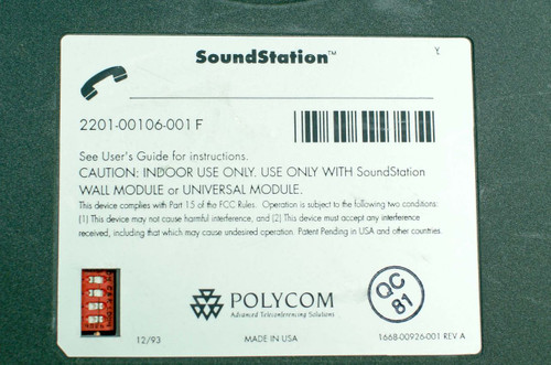 Polycom 2201-00106-001 SoundStation Untested No AC Adapter
