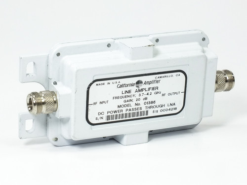 California Amplifier 1386 3.7~4.2 GHz Line Amplifier DC Power Pass Thru LNA 20dB