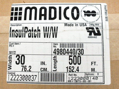 "Madico 4980440/30 InsulPatch W/W Solar Panel Insulating Backsheet Roll 30"" by 500 Feet"