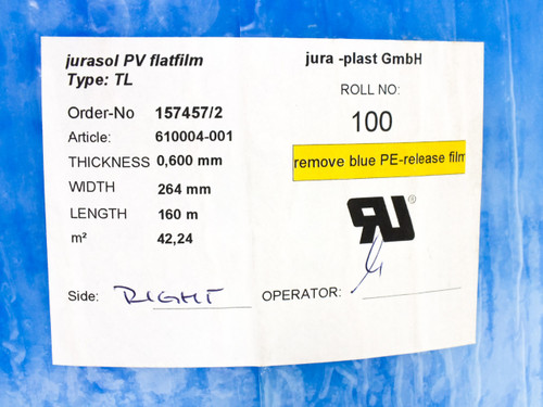 Jura-Plast GmbH Jurasol PV Flatfilm Type TL Solar Panel Encapsulation Film 264mm x 160m x 0.6mm