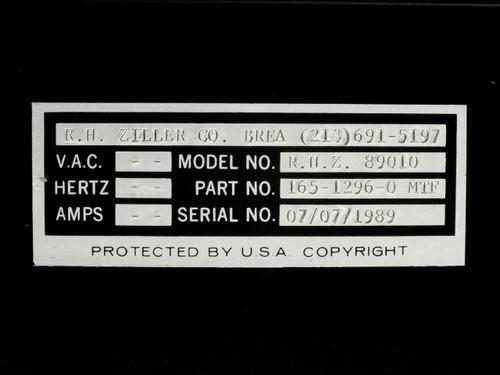 R.H Ziller & Co.R.H.Z 89010 Manual Test Fixture - 165-1295-0 MFT