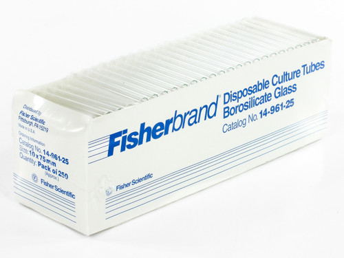 Fisherbrand 14-961-25 Borosilicate Glass Culture Tubes 250ct Disposable - NOB