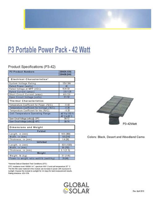 Global Solar 22042A 42 Watt 12V Foldable CIGS Military Grade Panel w/ETFE Desert Camo