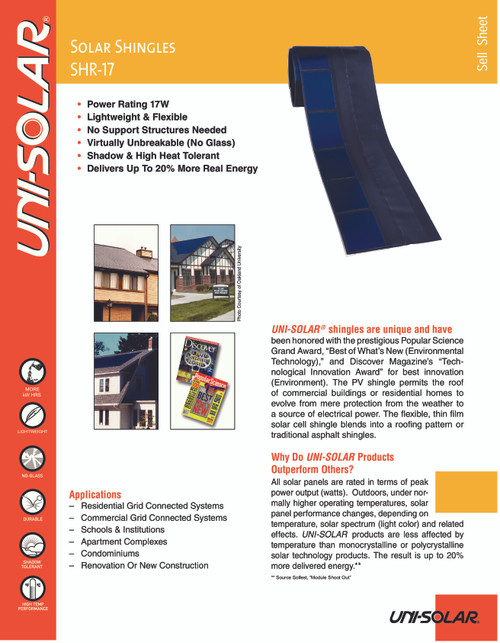 Uni-Solar SHR-17 17W Flexible Solar Panel Roofing Shingle - 9V with Bottom Wires