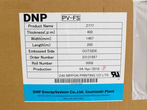DNP Z777 PV-FS Solar Panel Encapsulant THICK: 400µm WIDE: 1467mm LENGTH: 200m