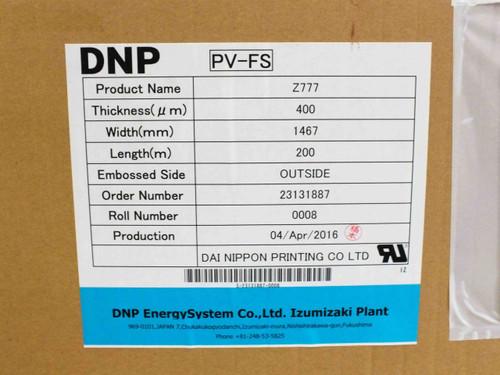DNP Z777 PV-FS Solar Panel Encapsulant THICK: 400µm WIDE: 1467mm LENGTH: 200m