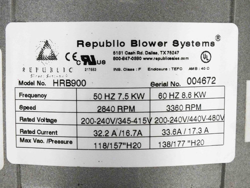 Republic HRB 900 Regenerative Blower 353CFM 78dB 11HP 230/480 Volt 3-Phase Motor