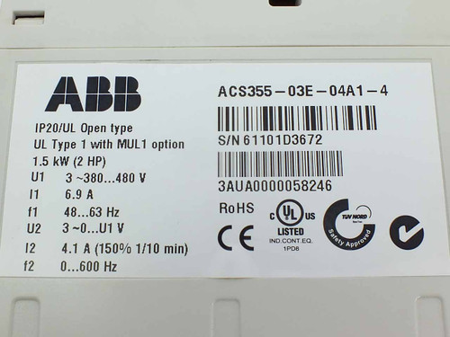 ABB ACS355-03E-04A1 2HP VFD Machinery Drive 480V MUL1 Option