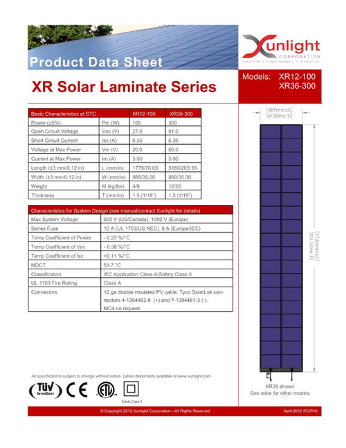 Xunlight XRD36-300 300W 58V Flexible Amorphous Solar Panel - SolarLok Connectors