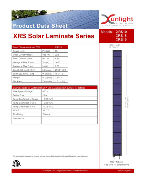 Xunlight XRS10-83 83W 16V Solar Panel Battery Charging - No Cables - Metal Tabs