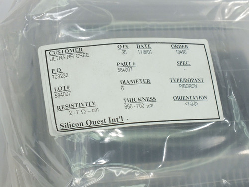 "Silicon Quest International 150mm 6"" Wafers Dopant P-Boron - 25 Pieces in Wafer Carrier"