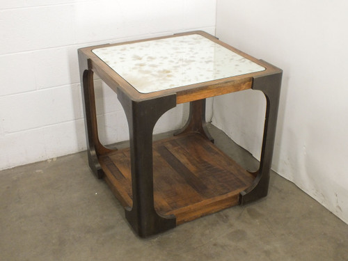 Artistica 155-260 Tuco Square Mahogany End Table with Mirror Top 26Lx26Wx25.5H