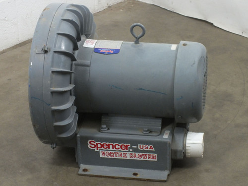 Spencer VB030B-011 Vortex Blower 3.4HP 220/460 VAC 3-Ph 3450RPM Model VBA93010