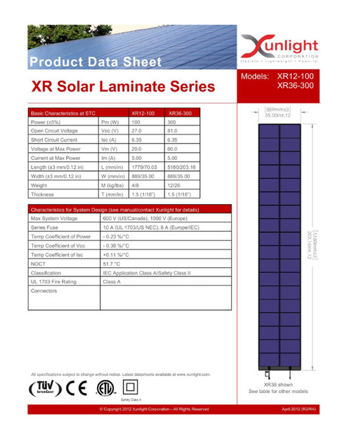 Xunlight XRD36-300 300W 58V Flex Amorphous Solar Panel - No Cables - Metal Tabs
