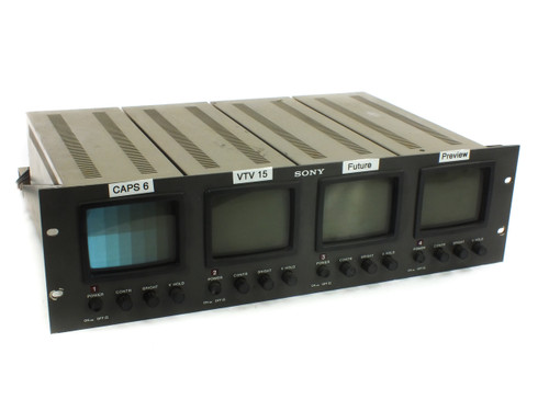 "Sony PVM-411 Set of FOUR 4"" Monochrome Video Monitors in 19"" Rackmount with BNC"