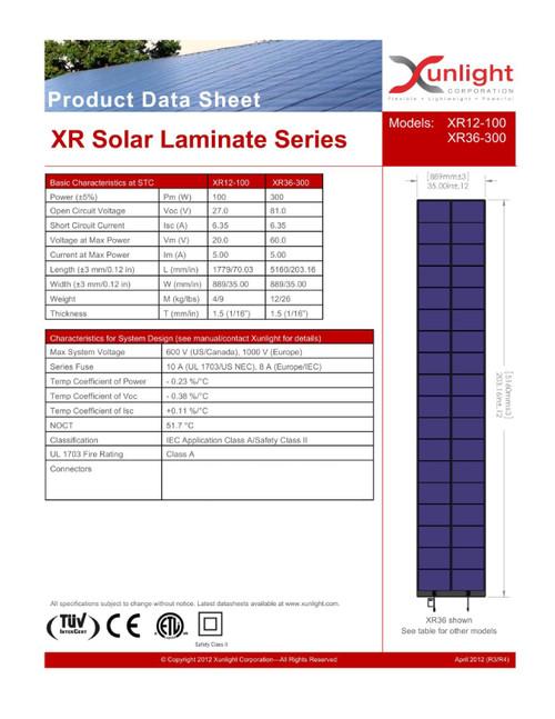 """Xunlight XRD12-100 100W Flexible Amorphous Solar Panel 35x70"""" for 12V Battery"""