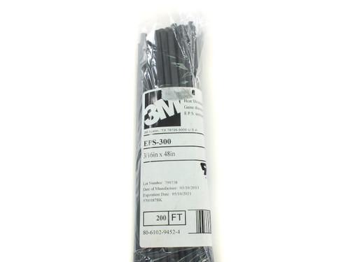 3M EPS-300 Heat Shrink Tubing Black, 3/16in x 48in, Bag of 50, 200ft Total