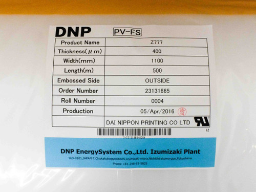 DNP Solar Z777 PV-FS TPO Encapsulant 1100mm Wide Sold by the Meter EVA Replace