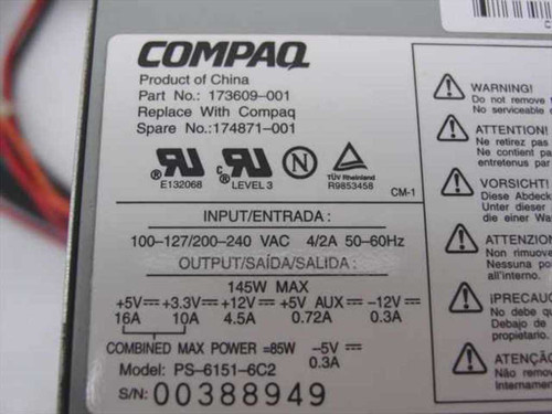 Compaq 145 W ATE Power Supply (173609-001)
