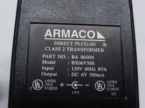 Armaco AC Adapter 6VDC 500mA - Barrel Plug - BX06V500 BA-0650N