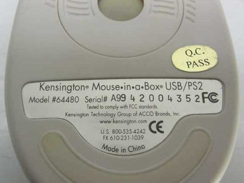 Kensington 64480 3-Button Wired USB/PS2 Mouse with Scroll