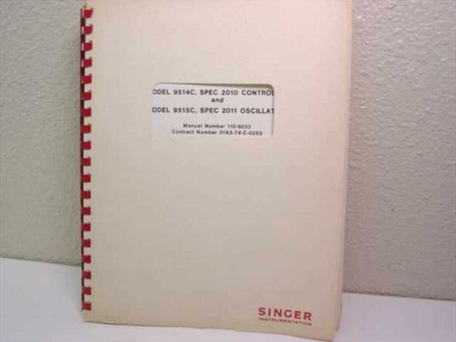 Singer Instrumentation Instruction Manual Part II Model 9514C, Spec 2010