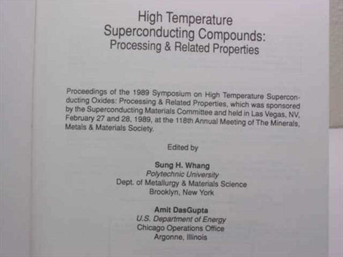 Whang, Sung H/ DasGupta A publication of the Minerals, Metals And Material High
