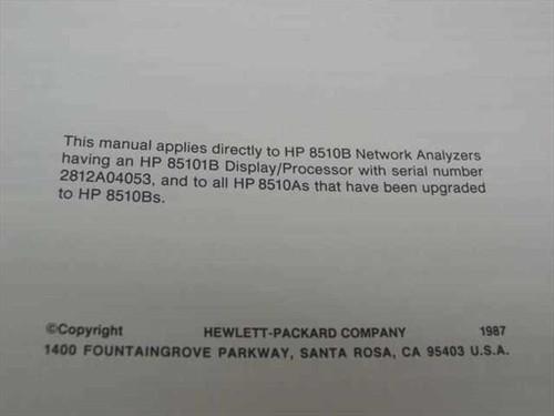 HP Keyword Dictionary (8510B Network Analyzer)
