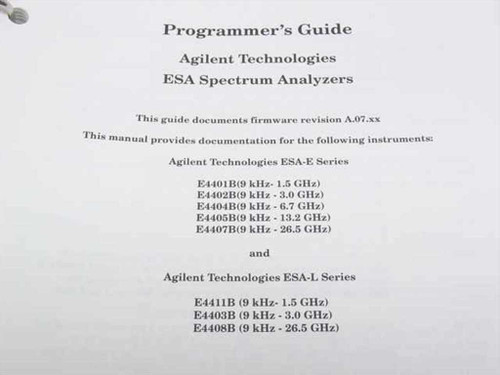 Agilent Programmer's and Programming Conversion Guide ESA  E4401-90238 & E4401-9