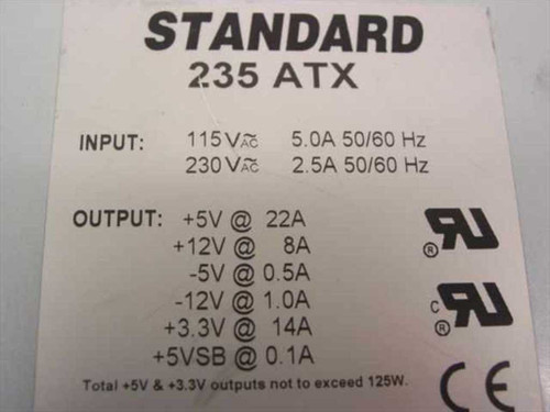 Standard 235ATX 235W Power Supply with 20-ATX Connector - TESTED
