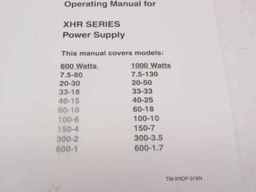 Xantrex TM-XROP-01XN XHR Series Power Supply - Operating Manual