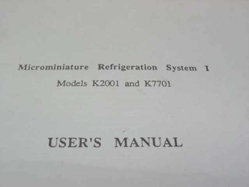 MMR Technologies Microminiature Refrigeration System I User's Manua M2001