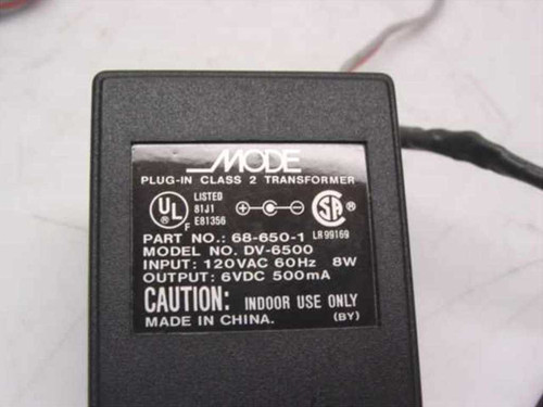 Mode Electronics AC Adapter 6VDC 500mA Class 2 - Barrel Plug 68-650-1 DV-6500