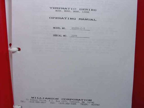 Williamson Tempmatic Series Operating Manual Model No. 4920S-C-T