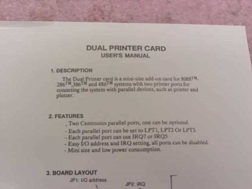 Magitronic A-B109 8-Bit ISA Parallel Dual Printer Card w/ Manual - New Open Box