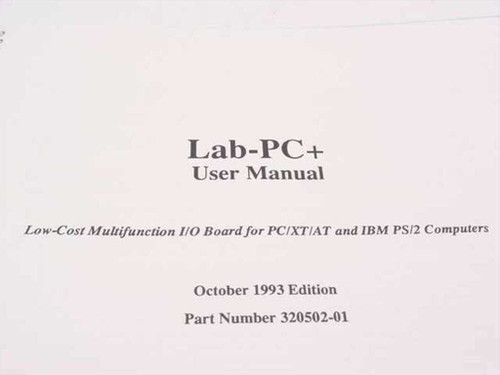 National Instruments LAB-PC& User Manual (320502-01)