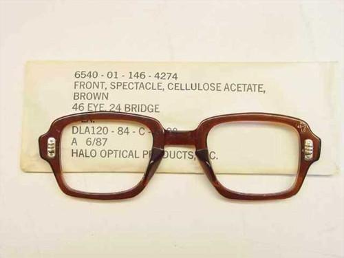 USS Classic Horn-Rimmed Eyeglasses Frame 6540-01-146-4274 Size: 46 Eye 24 Bridge