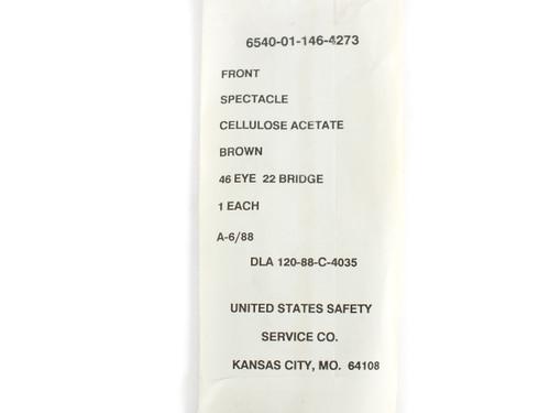 USS 6540-01-146-4273 Classic Horn-Rimmed Eyeglasses Frame Size: 46 Eye 22 Bridge