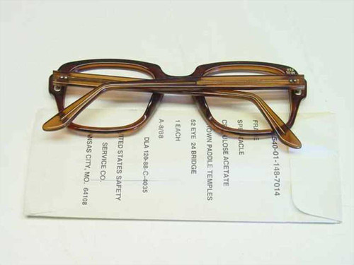 USS Classic Horn-Rimmed Eyeglasses Frame 6540-01-148-7014 Size: 52 Eye 24 Bridge