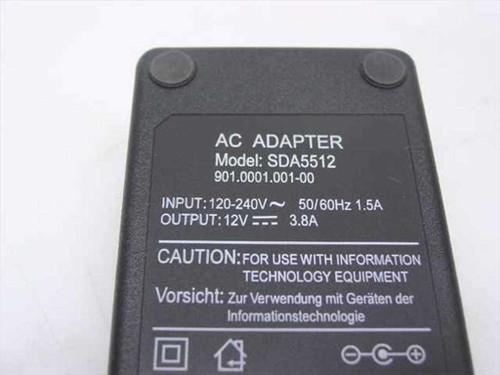Generic Adapter 12 Volt DC 3.8 Amp Barrel Plug NEW OPEN BOX (SDA5512AC)
