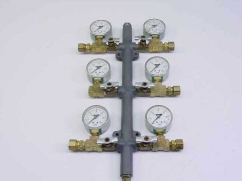 Generic 0-30 PSI Six Outlet Manifold Low Pressure Inlet:1/4 NPT Outlet:1/8 NPT