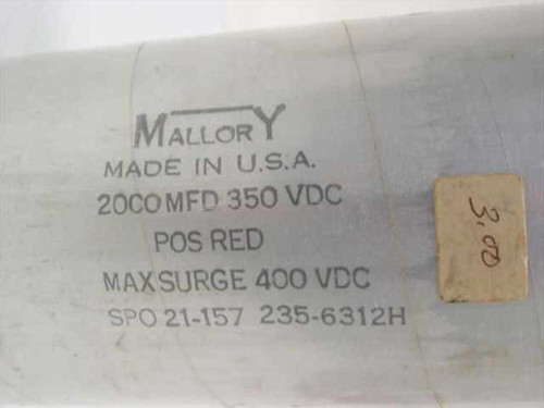Mallory SPO21-157 Electrolytic Capacitor 2,000 uF 350VDC Max Surge 400VDC