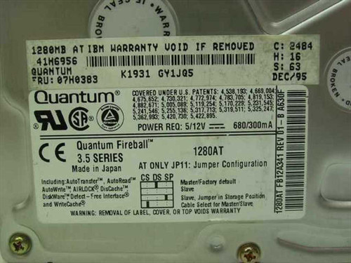 "IBM 07H0383 1.2GB 3.5"" IDE Hard Drive - Quantum Fireball Series 1280AT"