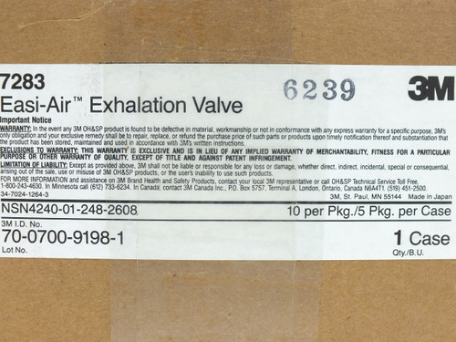 3M 7283 Easi-Air Exhalation Valve 7800S Series Gas Mask Respirator - Box of 50