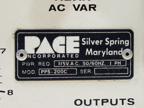 Pace Incorporated AC VAR OUTPUT (PPS-200C)