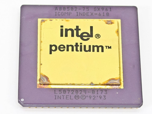 Intel SX961 Pentium 75Mhz CPU - Gold Faced Processor - Socket 7 - A80502-75