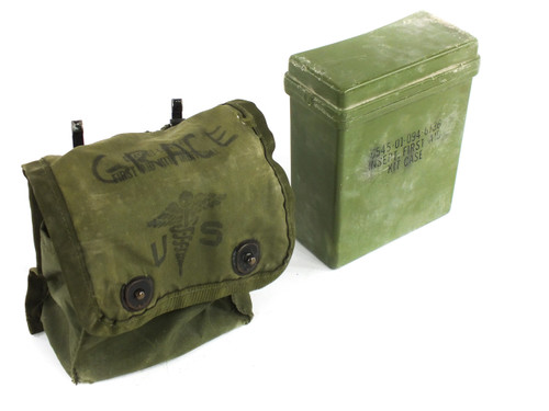 Military 6545-01-094-6142 USED Issue First Aid Kit Pouch and Hard Case Insert