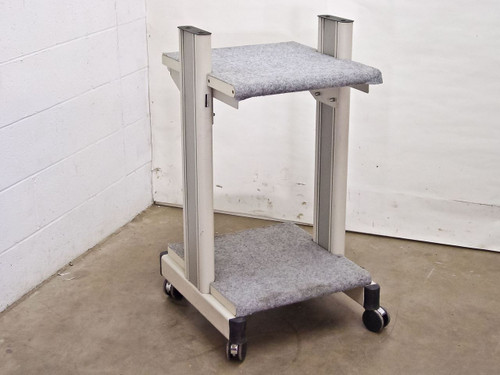 Beige White Rolling Cart with Carpeted Surfaces (Cart) - AS IS