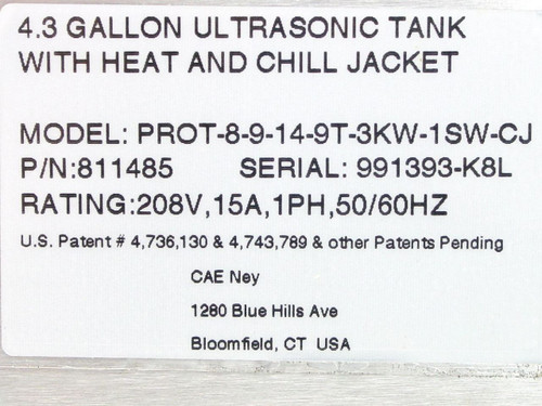 CAE 811485 4.3GAL Ultrasonic Tank with Heat & Chill Jacket - Ney Ultrasonics