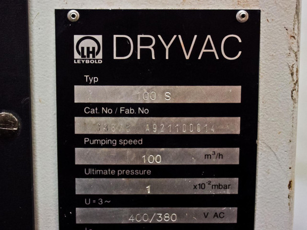 Leybold 100S DryVac Dry Compression Vacuum Pump Cat. No. 13875 A921100014